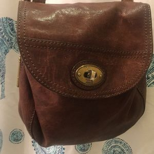 Fossil brown leather messenger crossbody purse